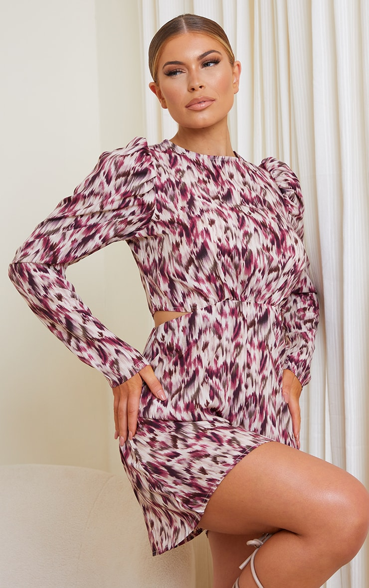 Purple Printed Puff Sleeve Cut Out Rompe 1