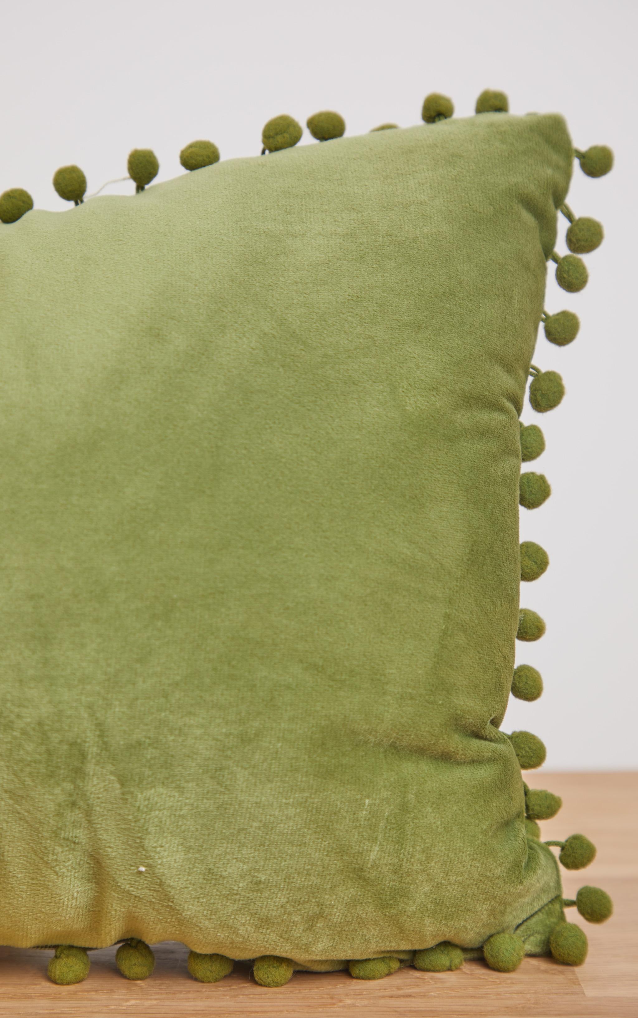Sage Velvet Pom Pom Cushion 2