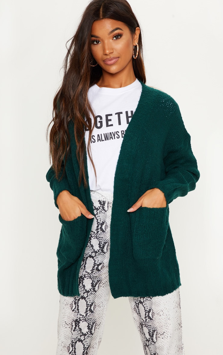 Bottle Green Knitted Cardigan With Pockets