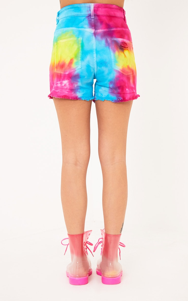 Anaiya Multi Tie Dye Distress Denim Short 4