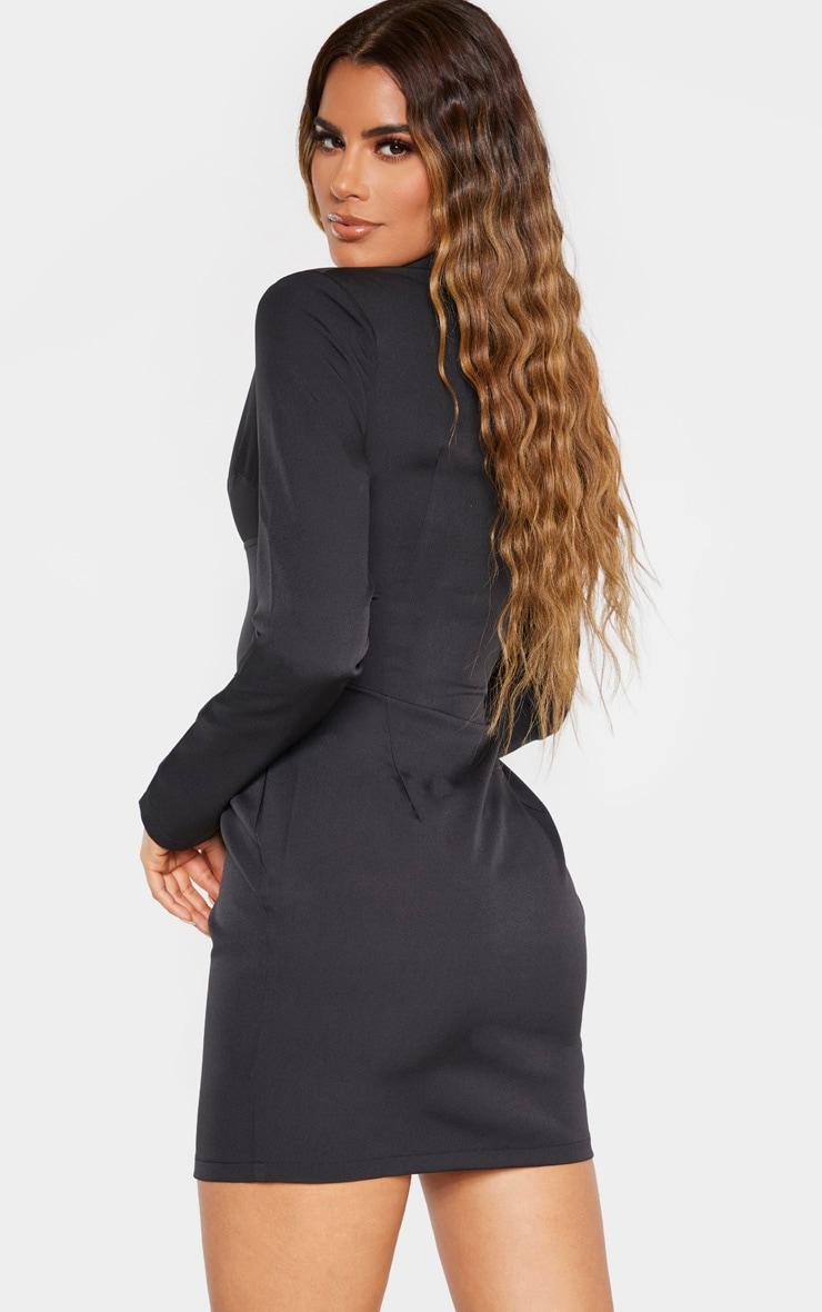 Tall Black Corset Detail Zip Long Sleeve Dress 2