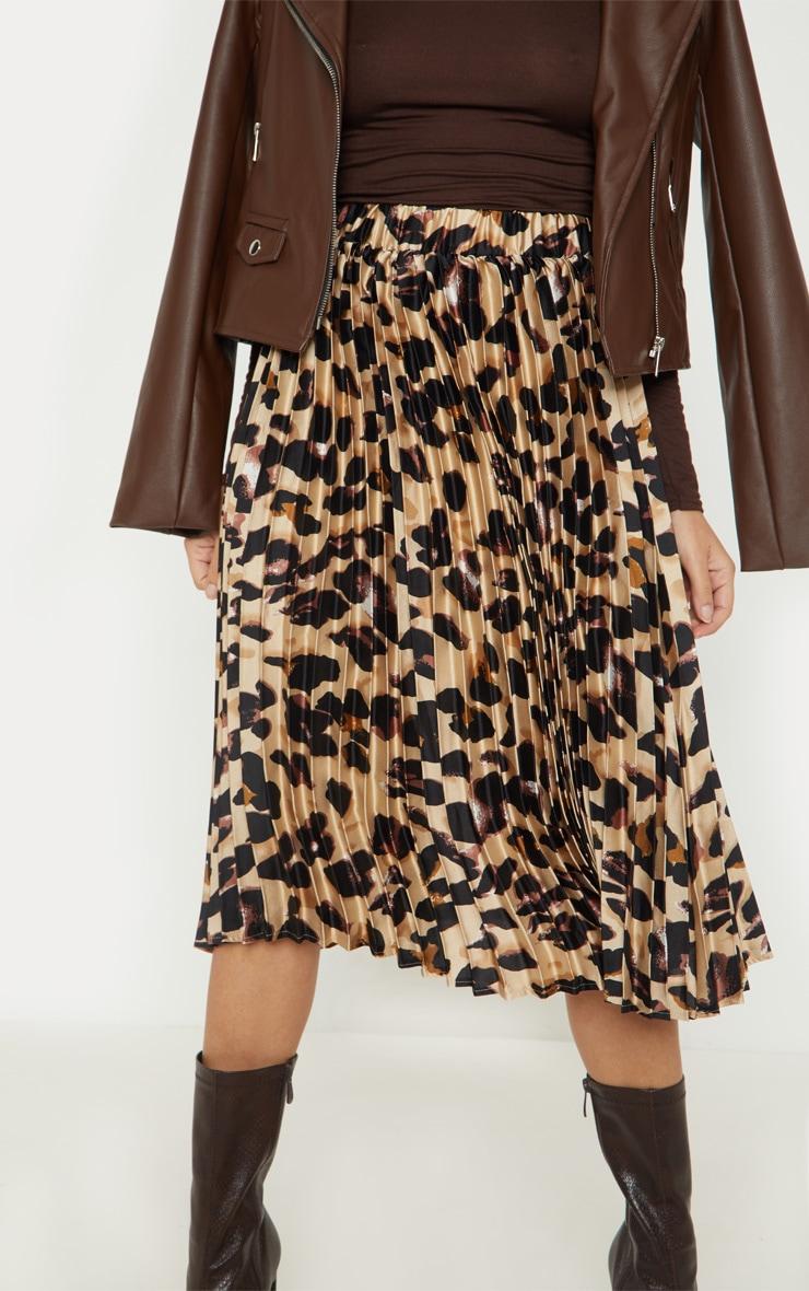 Petite Tan Leopard Print Pleated Midi Skirt 5
