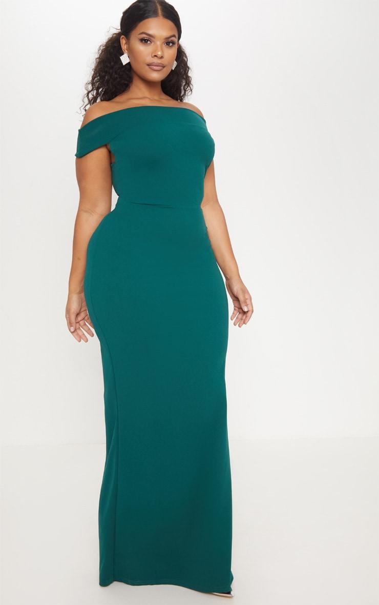 Plus Emerald Green Bardot Maxi Dress 4