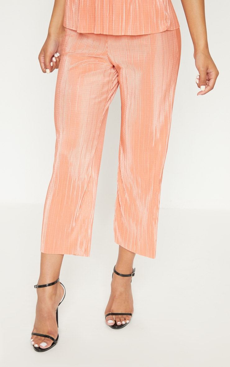 Orange Plisse Pleated Culottes 2