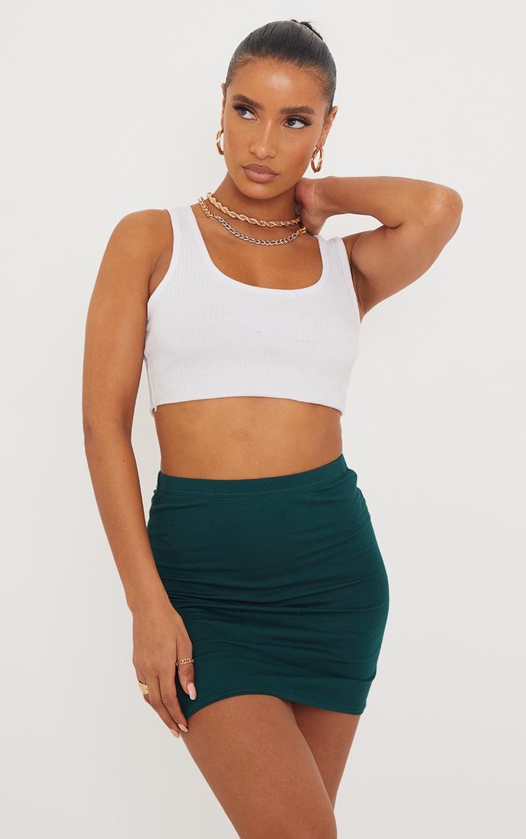 Forest Green Basic Jersey Mini Skirt 1