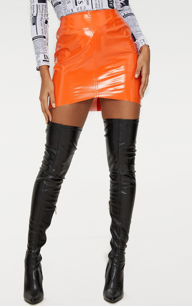 Orange Vinyl High Waisted Zip Up Mini Skirt 2