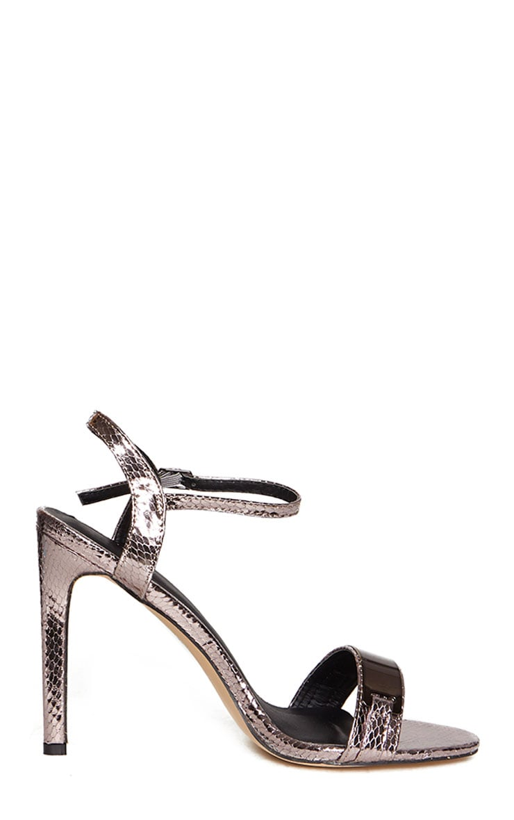 Jamie-Lee Pewter Bar Detail One Strap Sandals 4