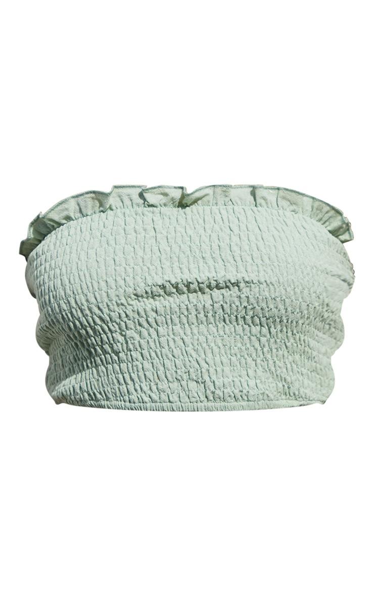 Sage Green Linen Feel Shirred Bandeau Top 5