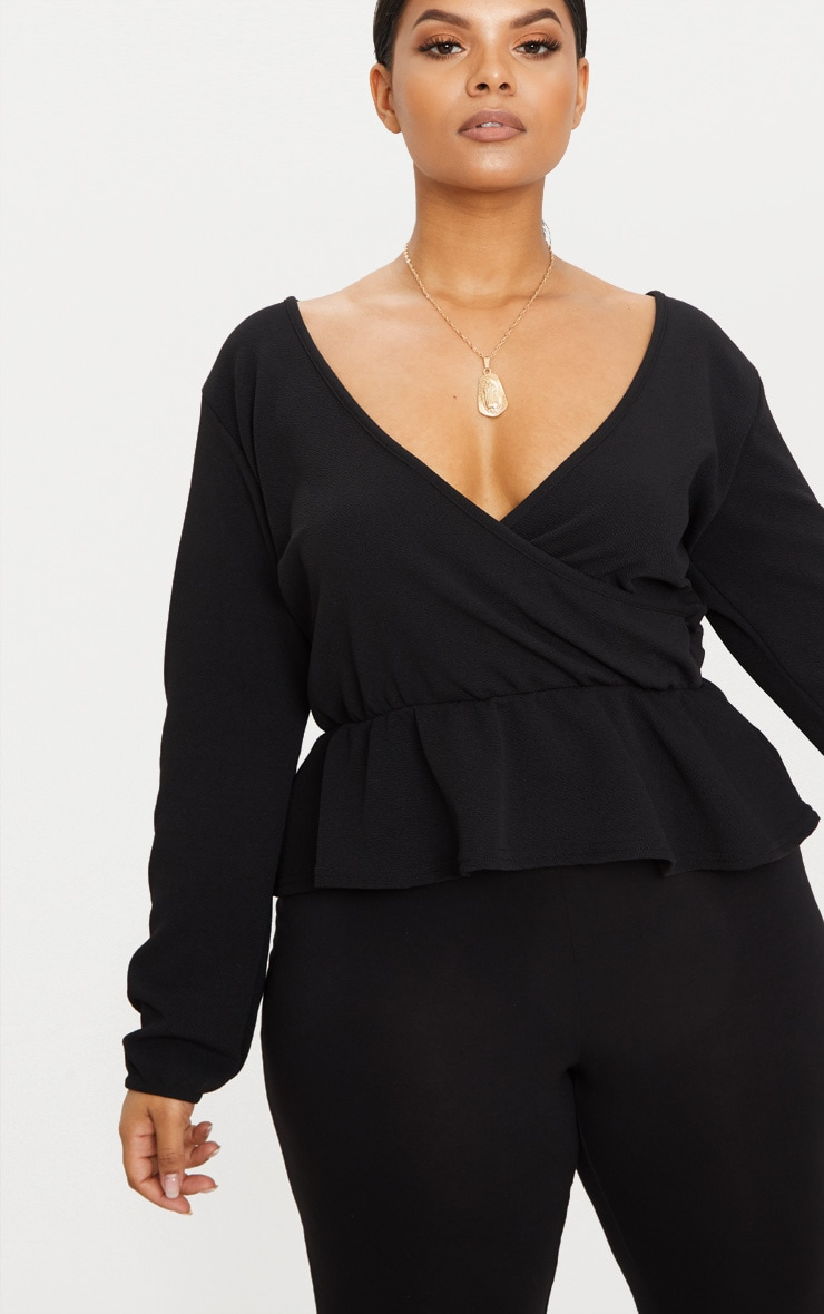 Plus Black Plunge Frill Hem Top 5