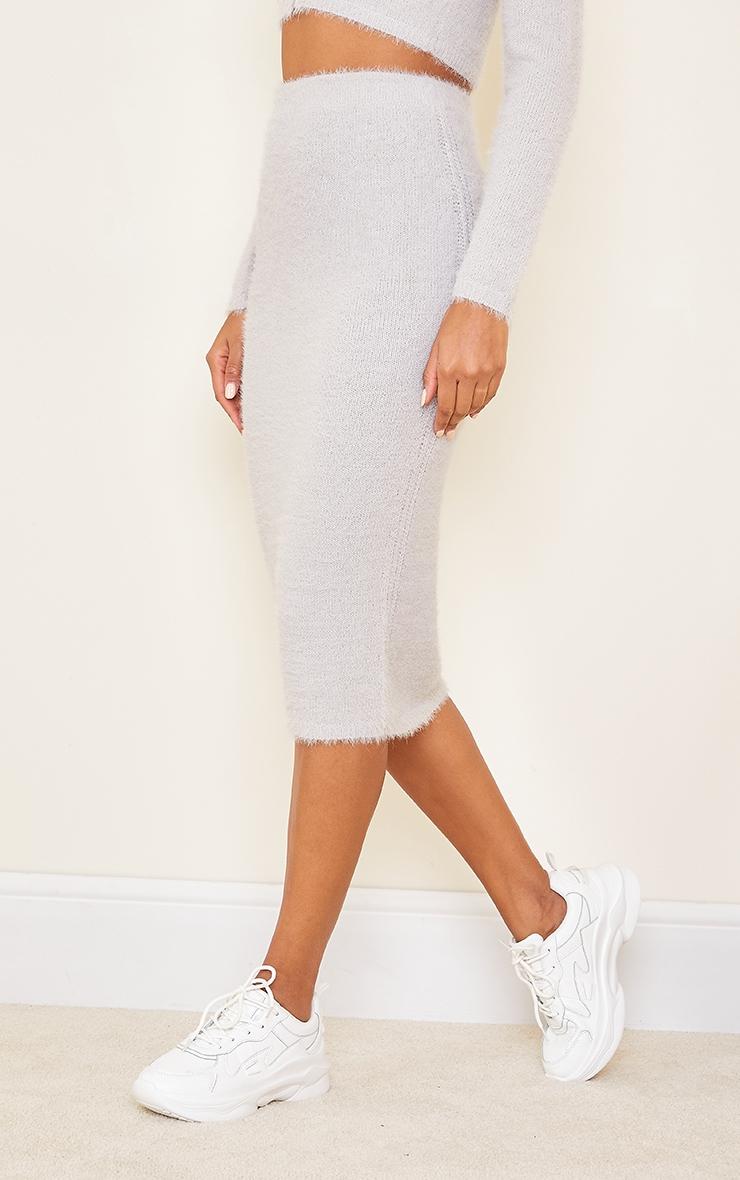 Grey Eyelash Knit Midi Skirt 1
