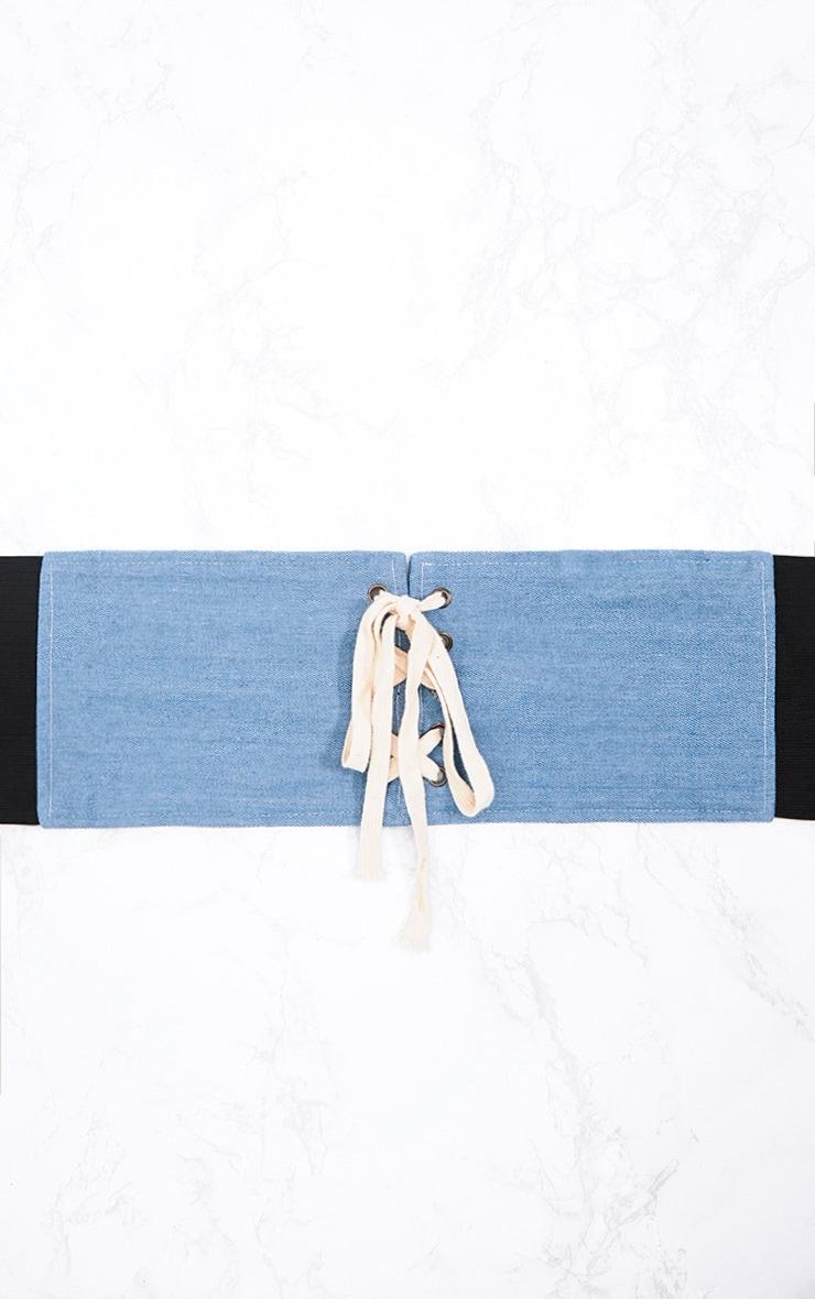 Blue Lace Up Denim Corset Belt 4