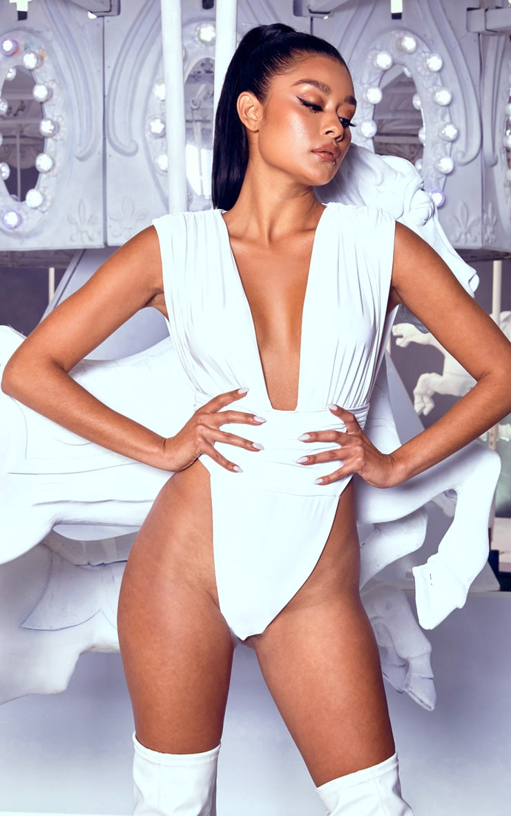 White Ruched High Leg Bodysuit 1