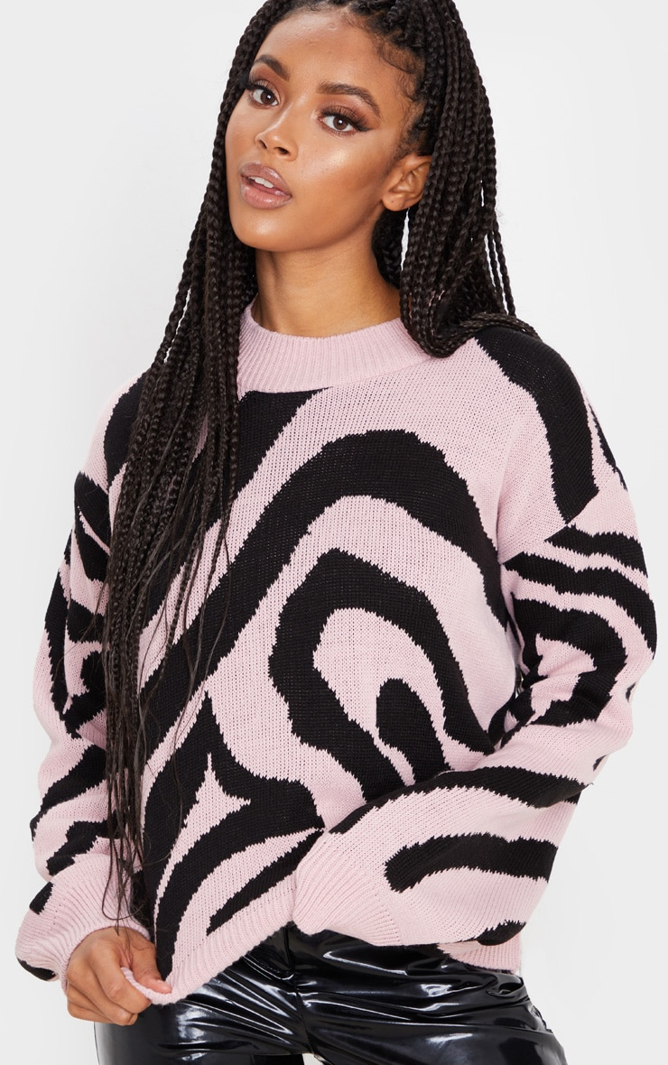 Rose Zebra Stripe High Neck Sweater 1