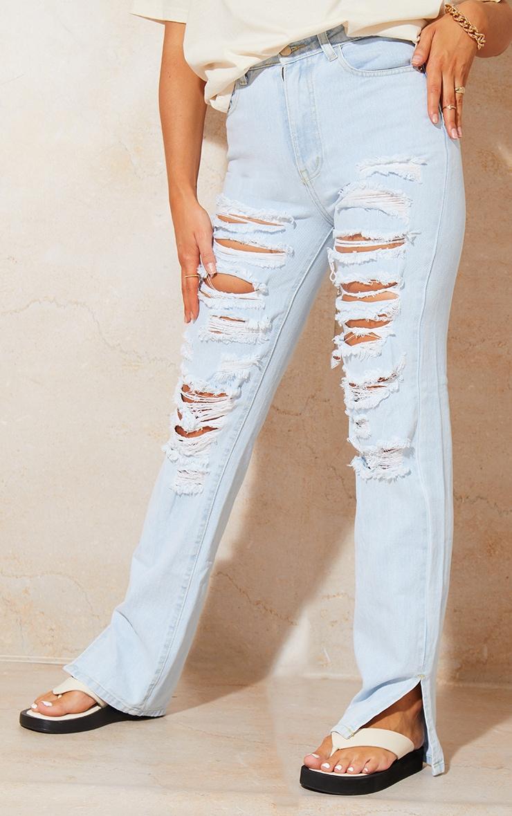 Bleach Wash Full Ripped Split Hem Jeans 2