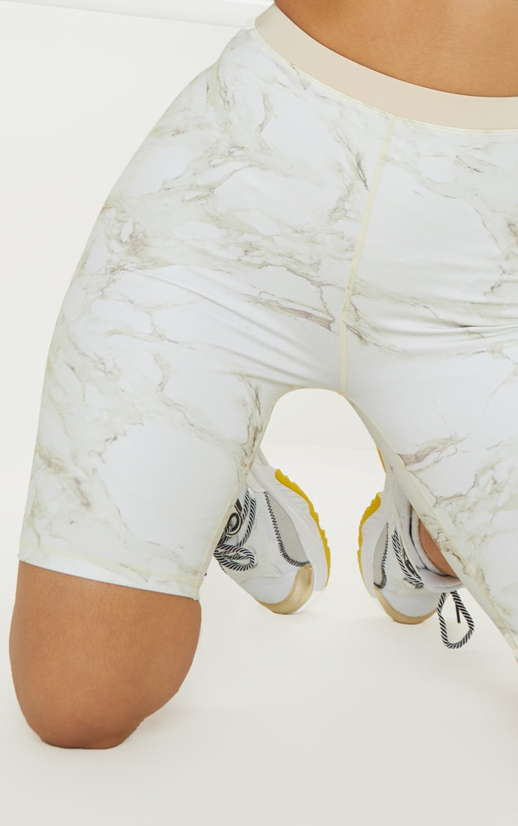 Stone Marble Contrast Waist Cycle Short 6