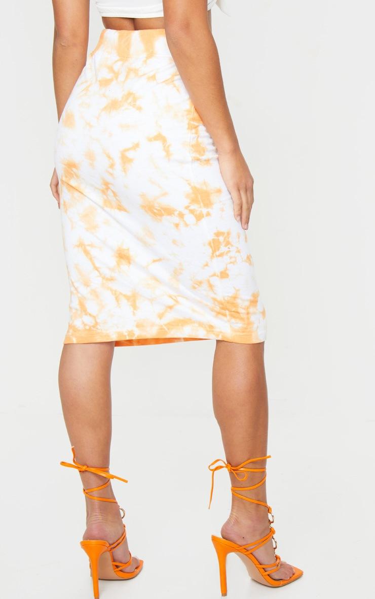Petite Orange Tie Dye Sweat Midi Skirt 3