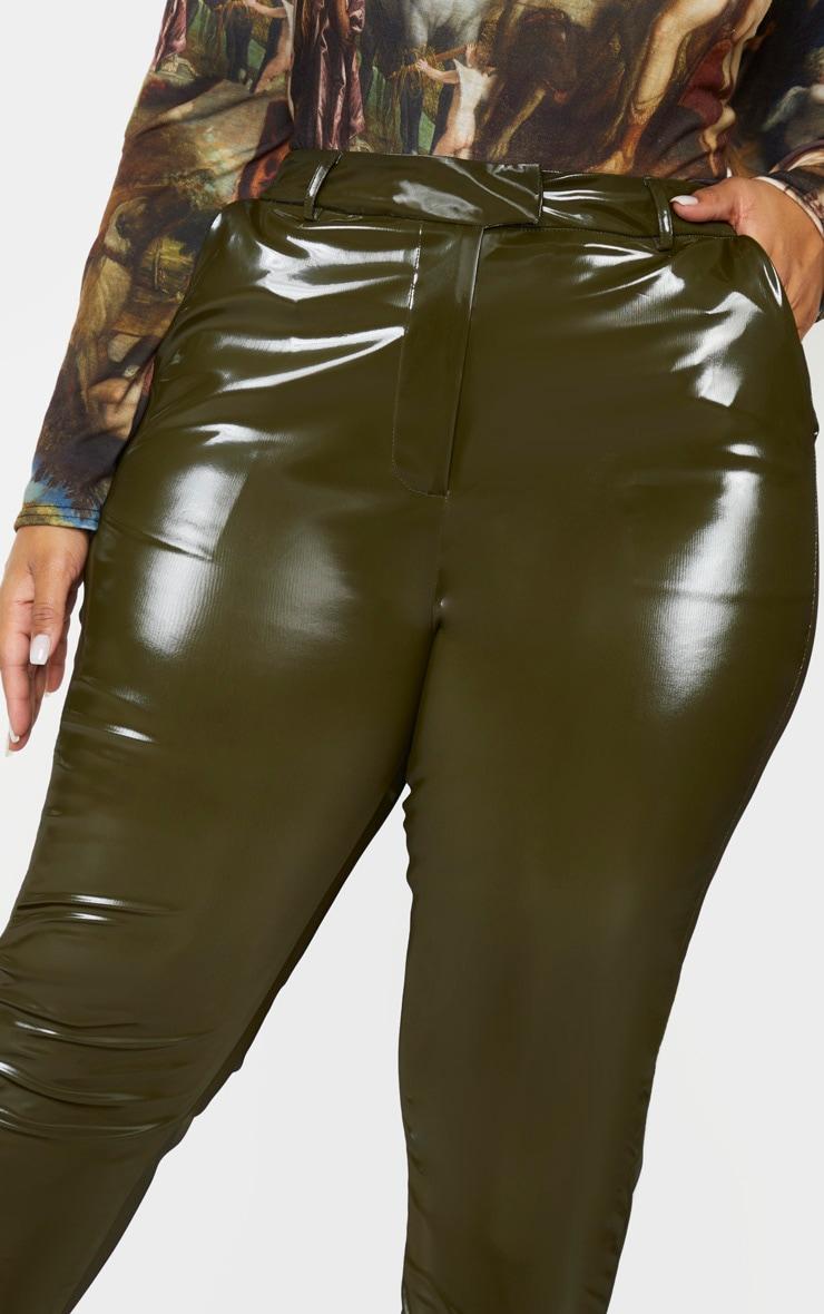 Plus Khaki Vinyl Skinny Trousers 5