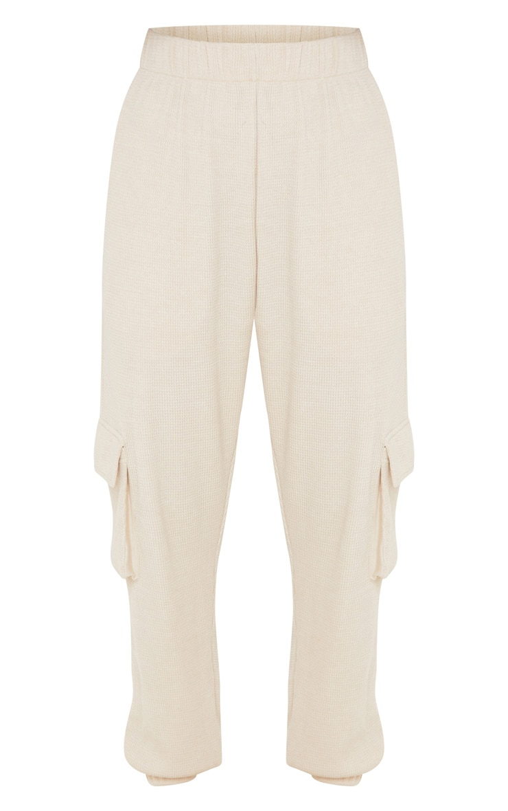 Cream Pocket Detail Waffle Knit Jogger 3