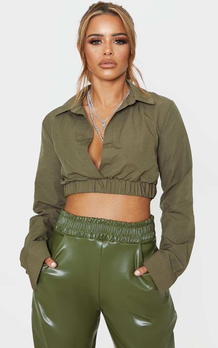 Petite Khaki Cropped Long Sleeve Blouse 1