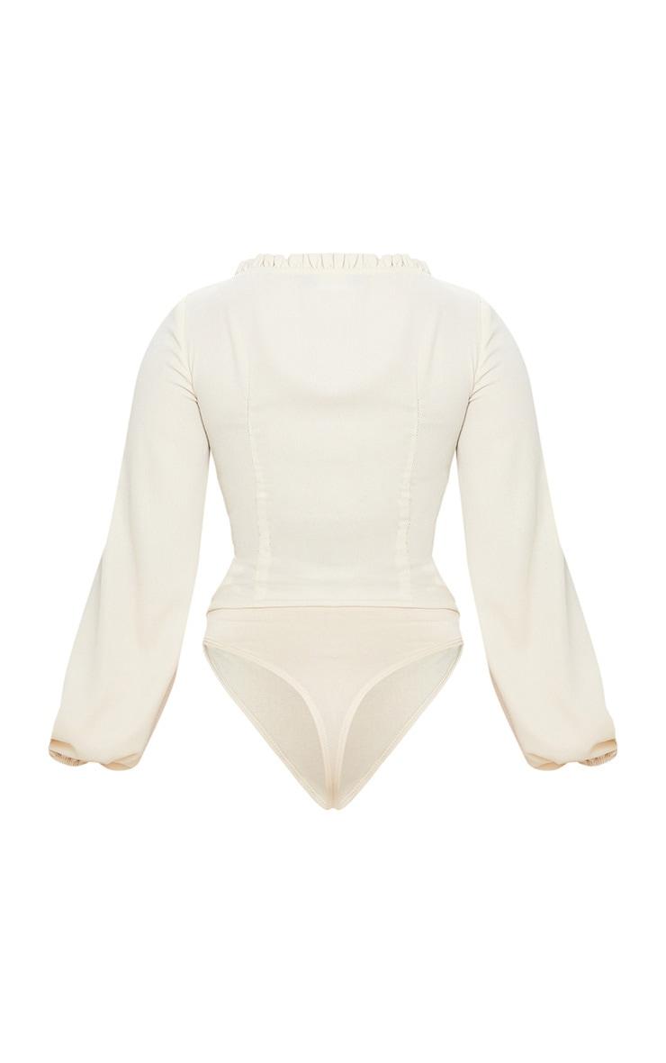 Petite Cream Milkmaid Frill Cup Bodysuit 4