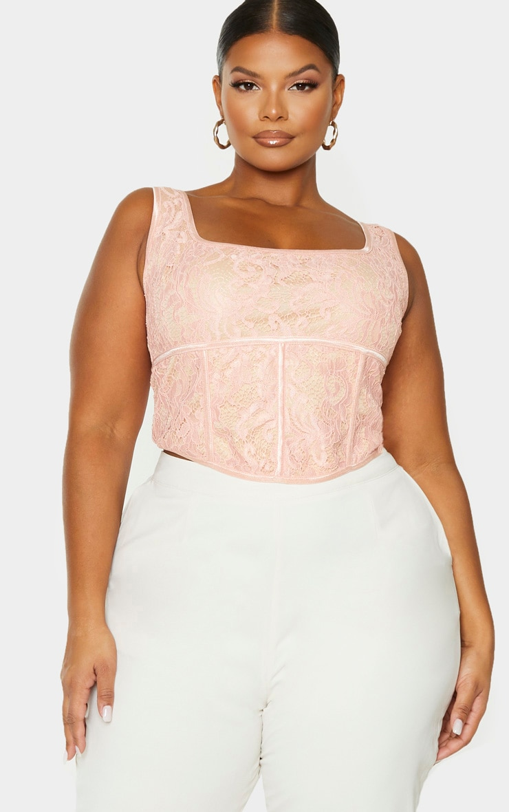 Plus Blush Lace Corset Crop Top 4