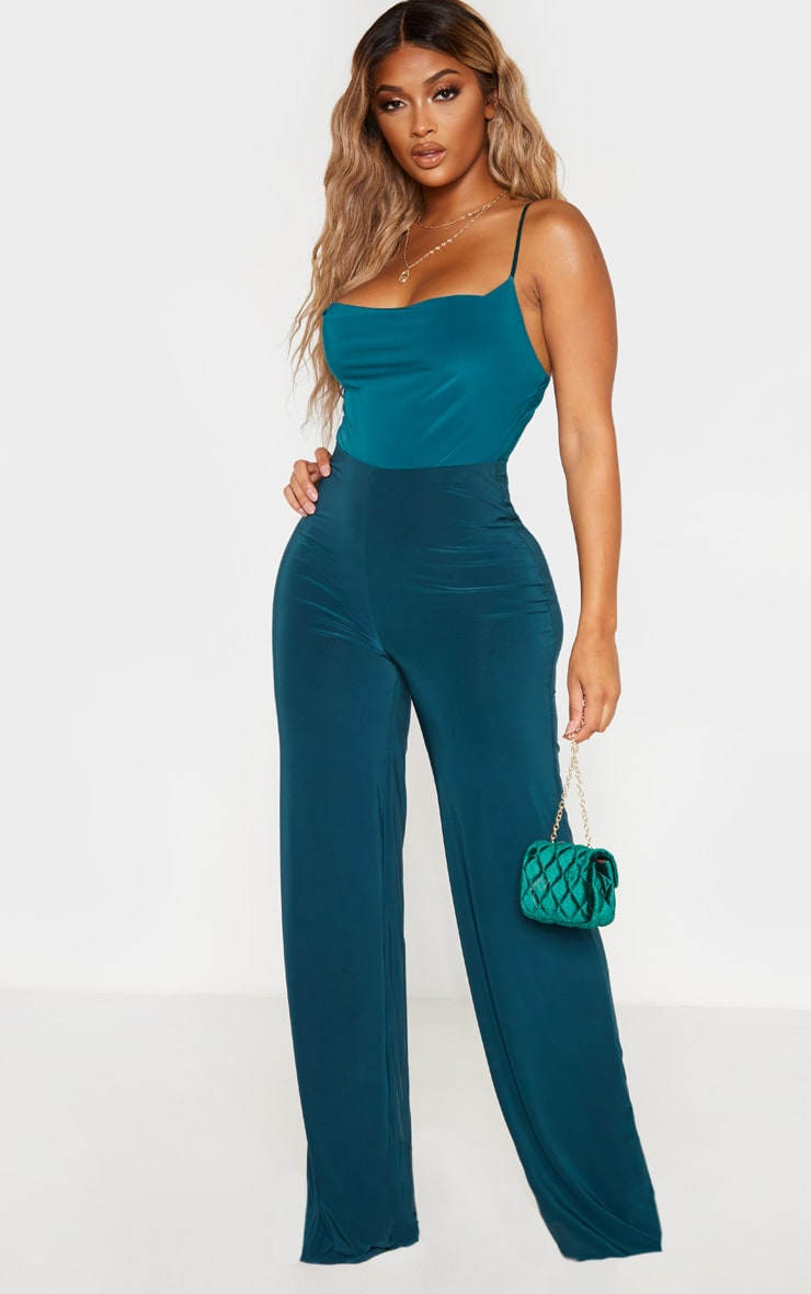 Shape Emerald Green Slinky Cowl Neck Bodysuit 5
