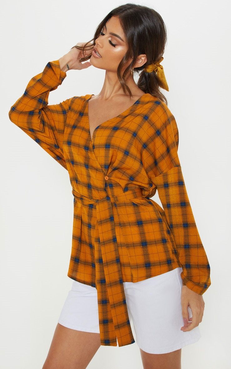 Mustard Check Plunge Belt Detail Oversized Shirt 1