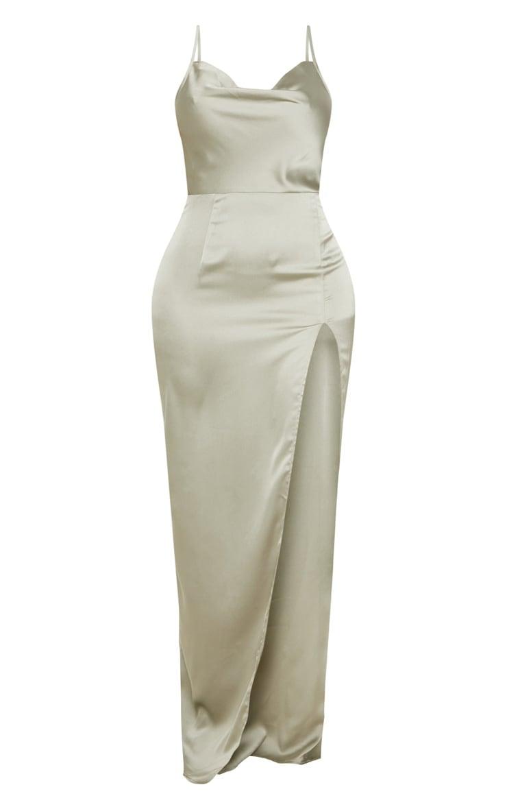 Shape Sage Green Satin Cowl Neck Maxi Dress 3