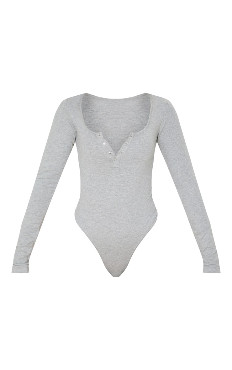 Grey Cotton Popper Scoop Neck Bodysuit 3