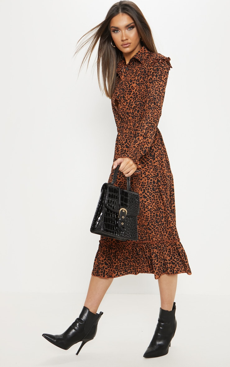 Rust Leopard Print Button Front Frill Midi Shirt Dress 4