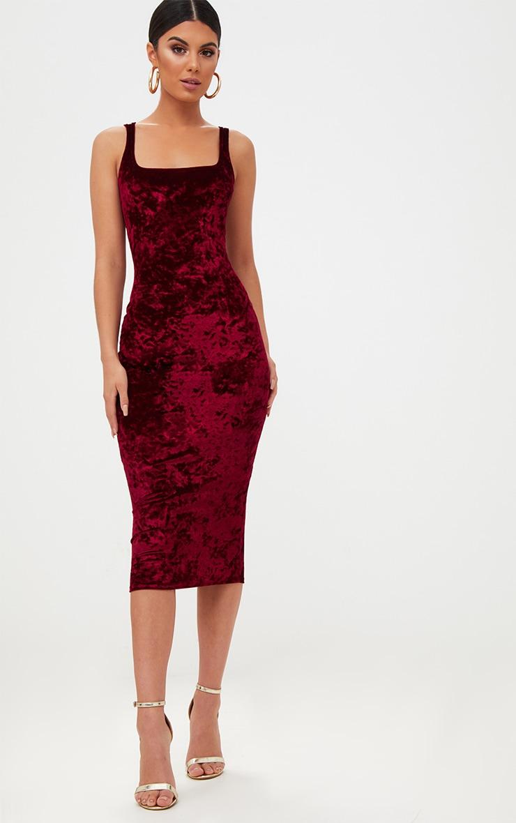 Wine Square Neck Velvet Midaxi Dress 1