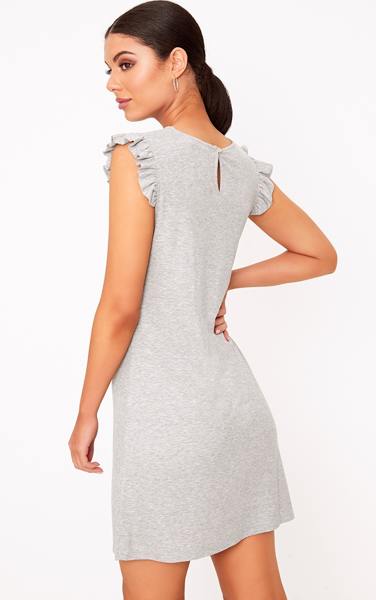 Grey Marl Jersey Sleeveless Frill Sleeve Shift Dress  2