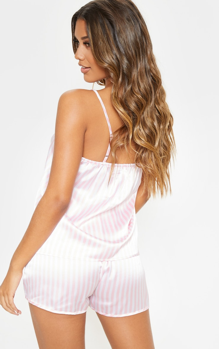 Pink & White Stripe 5 Piece Nightwear Set 2