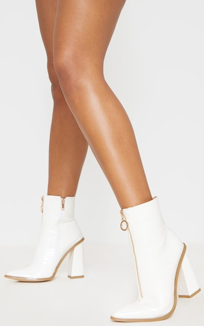 White Zip Front Block Heel Boot