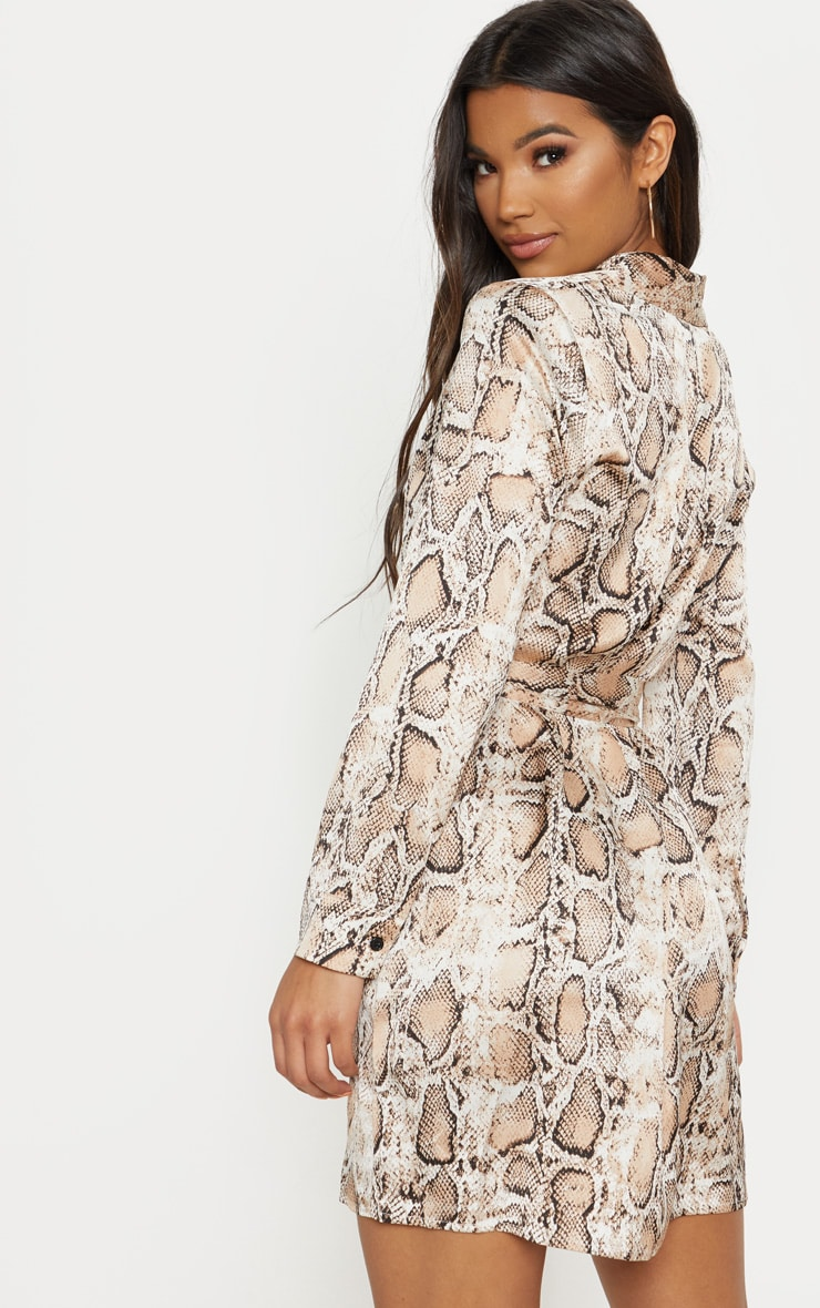 Beige Snake Print Satin Tie Waist Shirt Dress 2