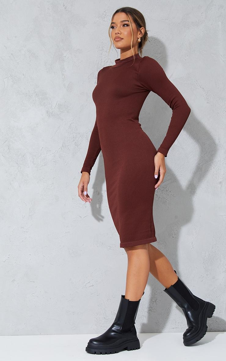 Chocolate Structured Contour High Neck Midi Dress 1