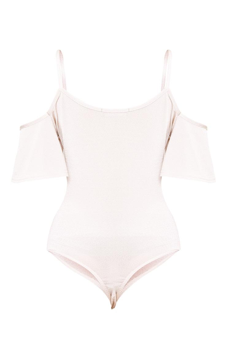 Champagne Shimmer Slinky Frill Thong Bodysuit 4