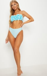 PrettyLittleThing - Baby Blue 3D Floral Bandeau Bikini Top - 4