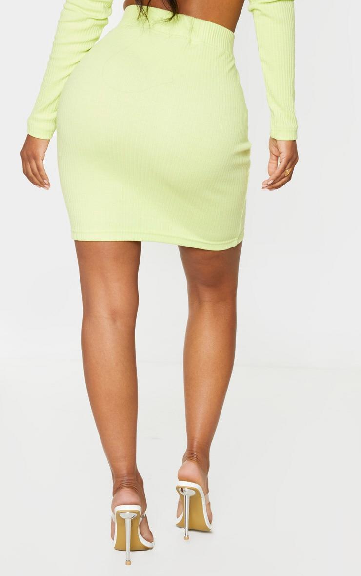 Shape - Jupe moulante vert citron très côtelée 3