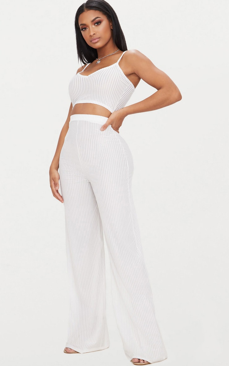Shape White Striped Velvet Wide Leg Trousers 1