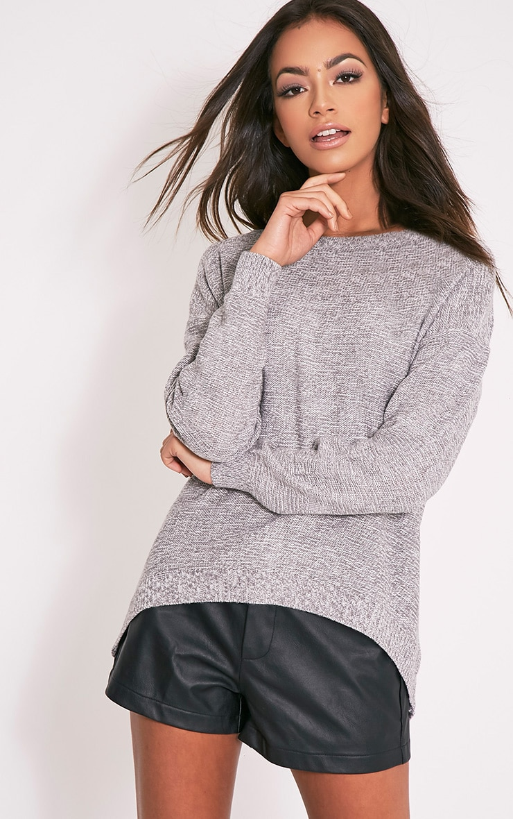 Hadiya Grey Zip Back Knitted Jumper 1