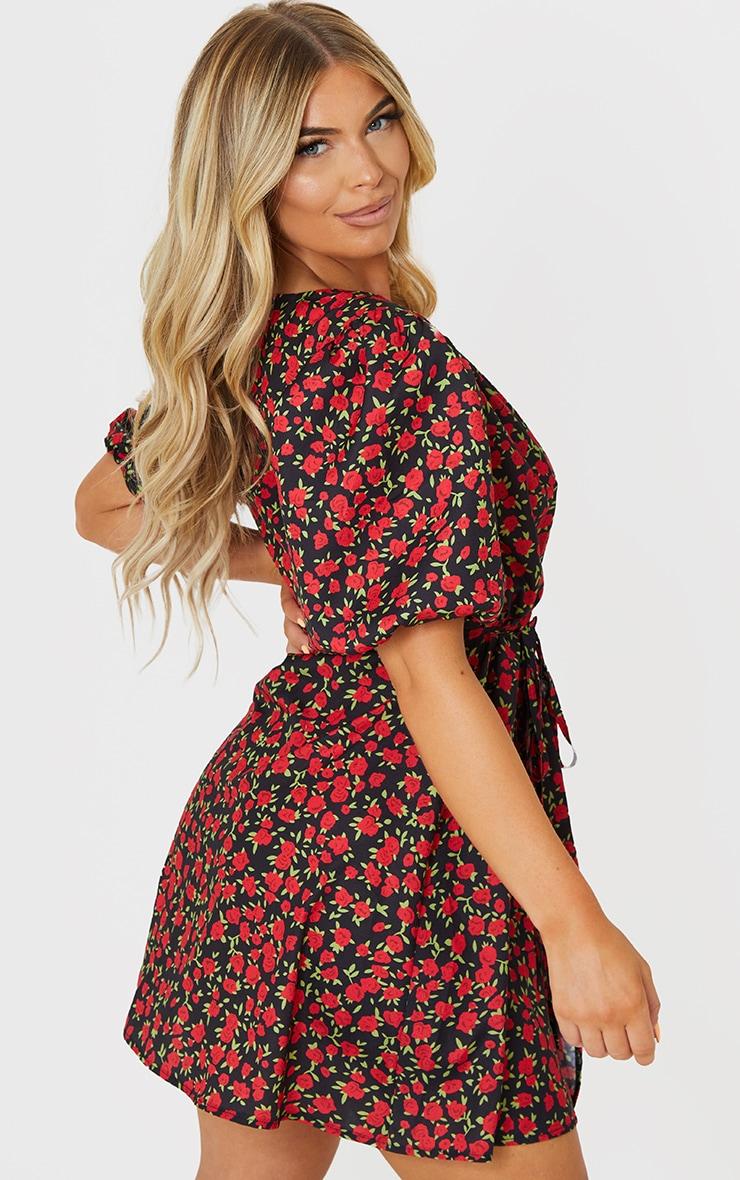 Black Floral Print Puff Sleeve Tie Wrap Tea Dress 2