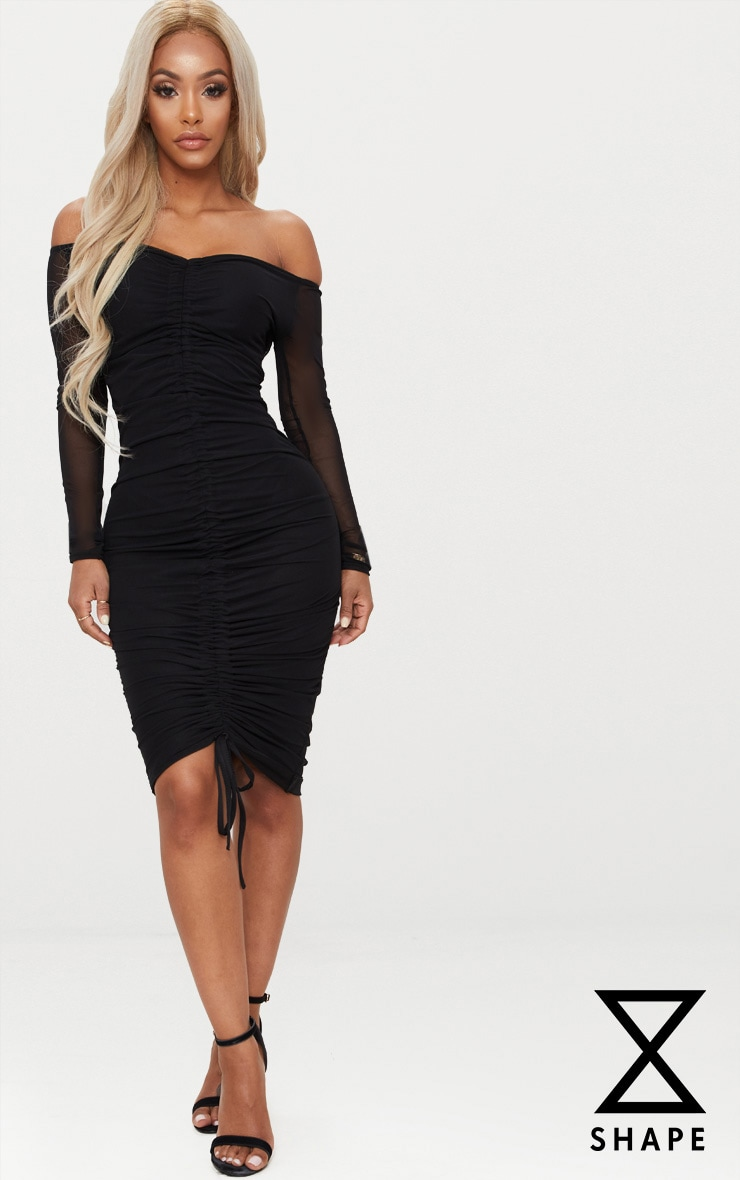 Shape Black Mesh Ruched Bardot Midi Dress
