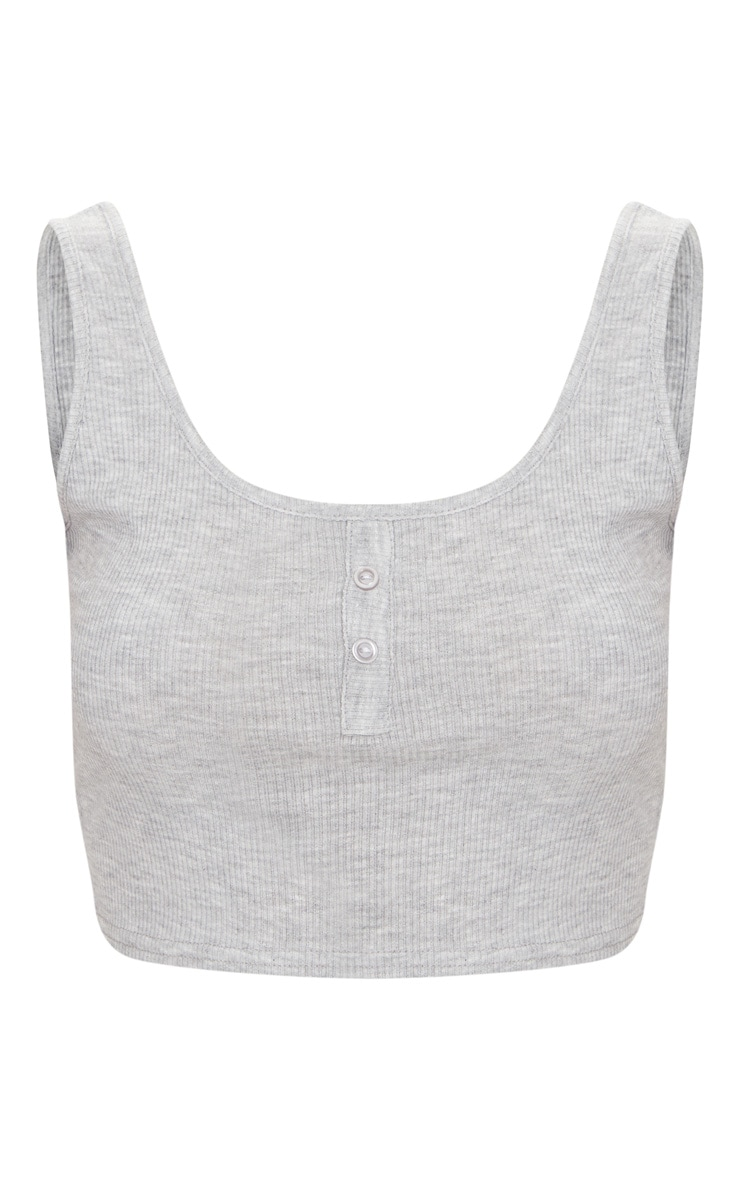 Grey Button Front Rib Crop Top 3