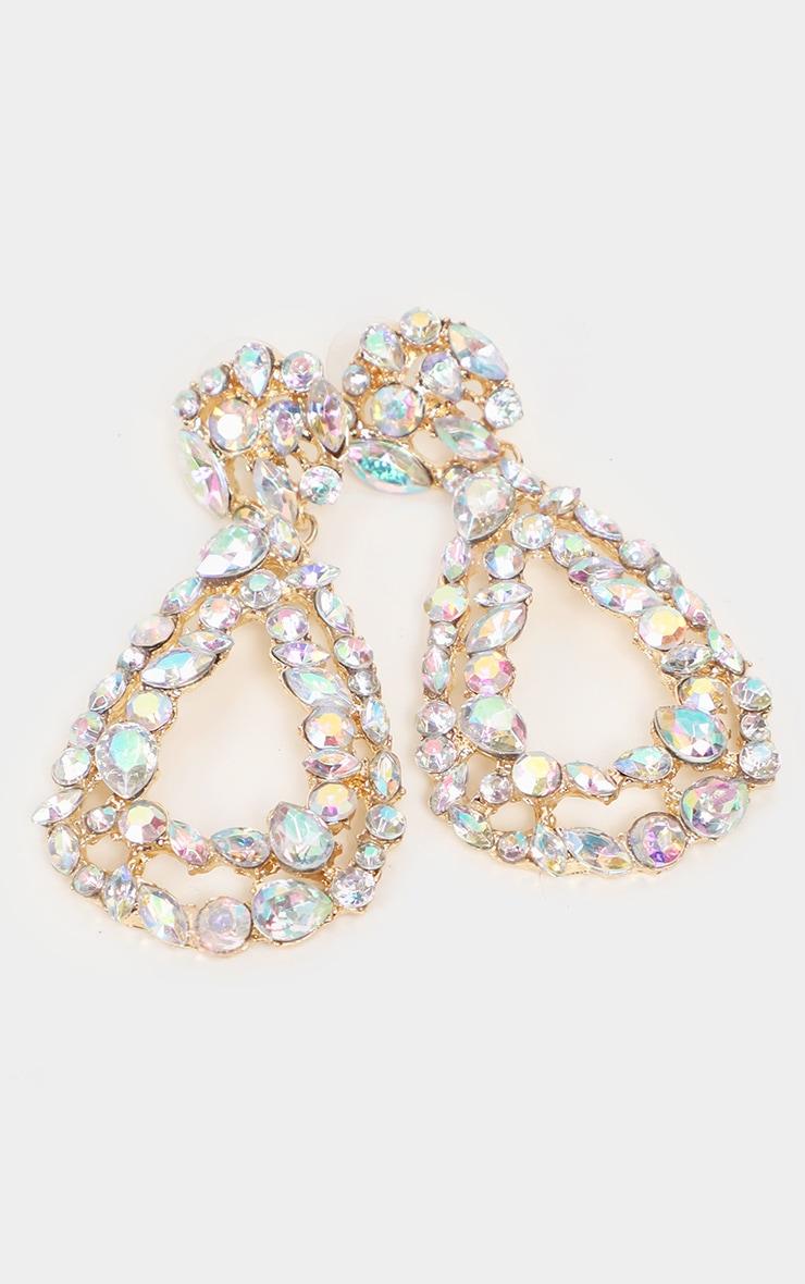 Iridescent Crystal Oval Door Knocker Earrings     2
