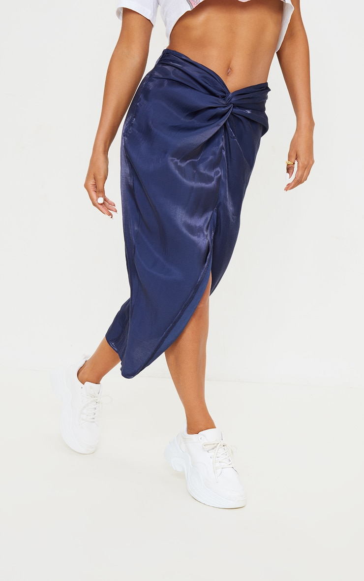 Petrol Blue Ruched Front Midi Skirt 2
