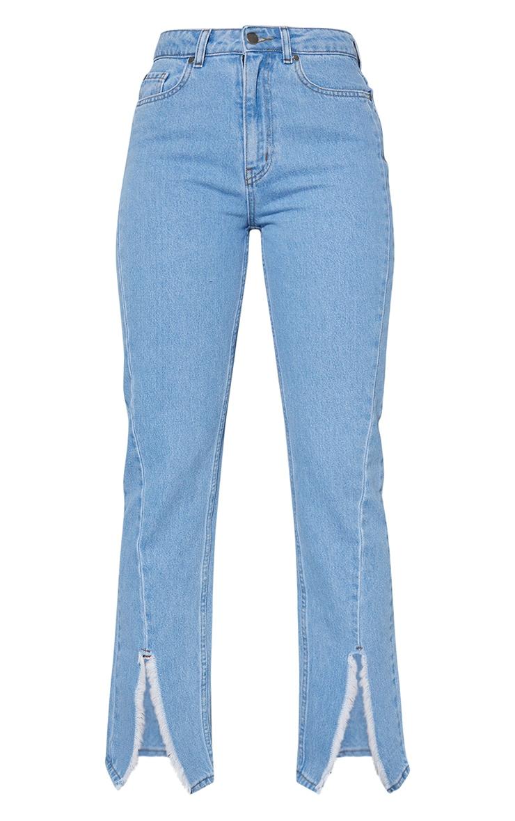 Light Blue Wash Seam Front Raw Hem Split Front Jeans 5