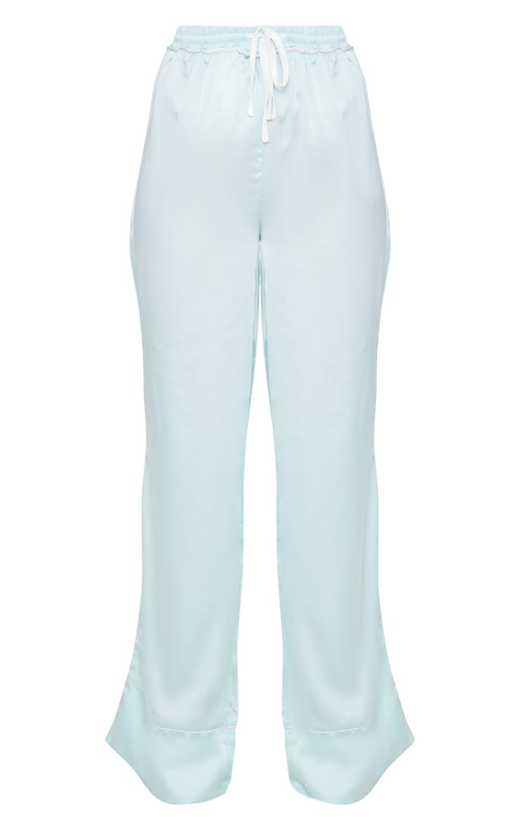 Mint Contrast Binding Satin Trousers 3