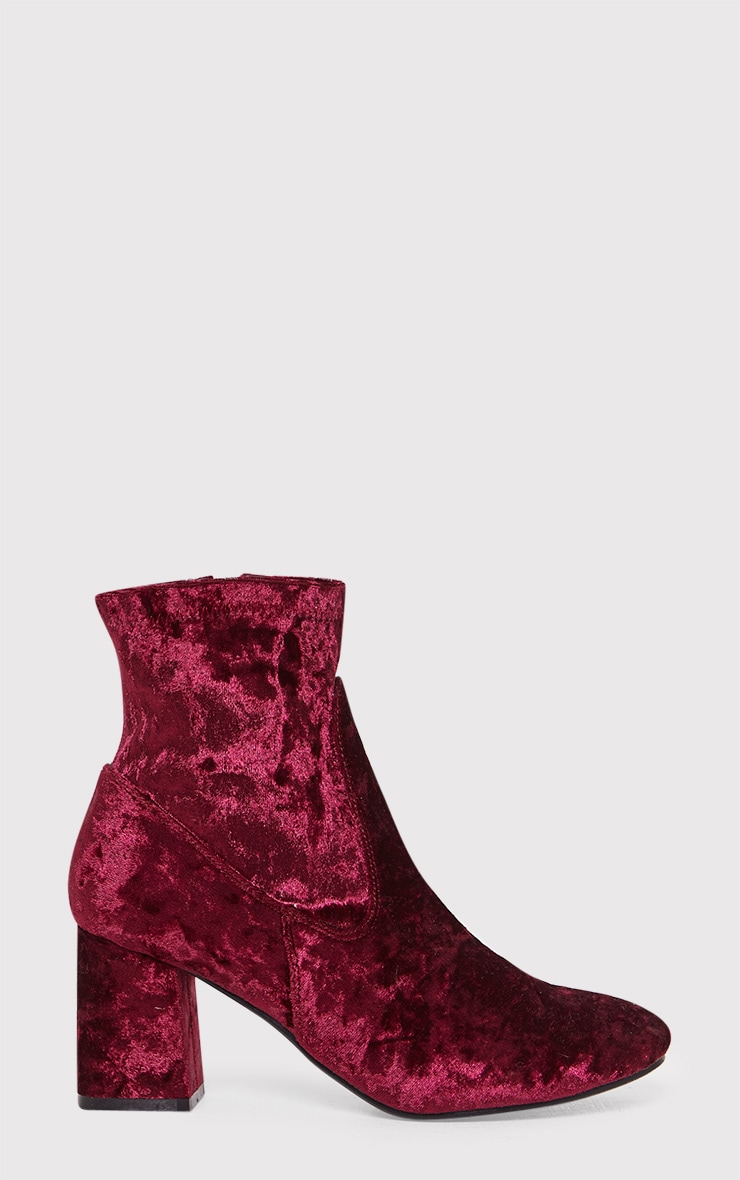 Hayden Wine Crushed Velvet Ankle Boots 1