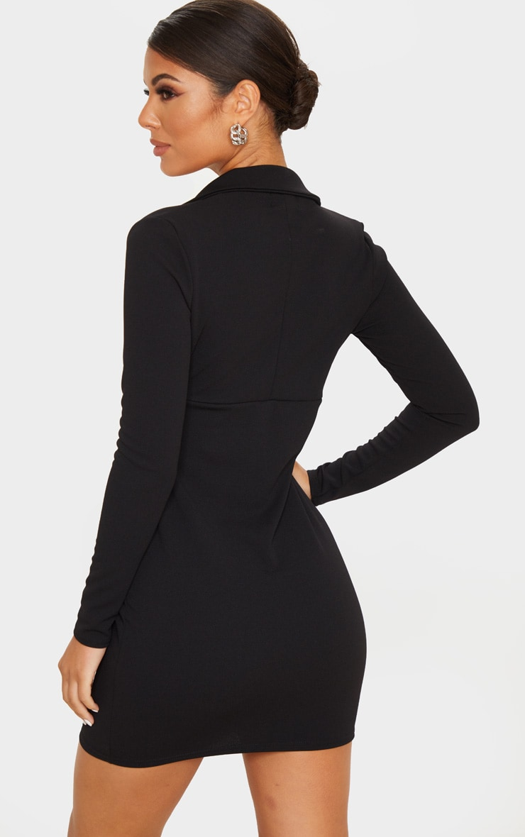 Black Long Sleeve Corset Detail Blazer Dress 2